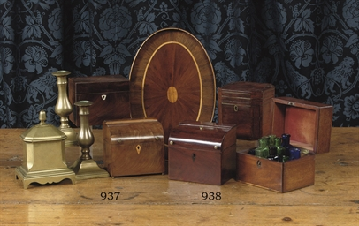 FOUR DUTCH MAHOGANY TEA CADDIE