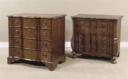 A DUTCH OAK AND ELM COMMODE