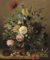 ROSES, PEONIES, DELPHINIUM AND VARIOUS OTHER FLOWERS IN A VASE, TOGETHER WITH SHELLS AND A BIRDS NEST, ALL ON A STONE LEDGE