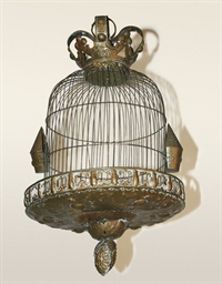 A DUTCH BRASS BIRDCAGE