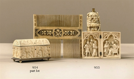 A RECTANGULAR CARVED IVORY DOM