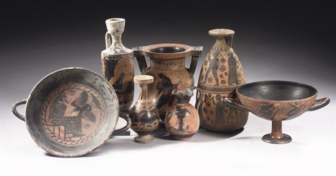 A GROUP OF SEVEN ETRUSCAN-STYL