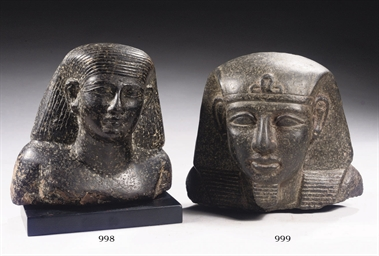 AN EGYPTIAN-STYLE DIORITE BUST