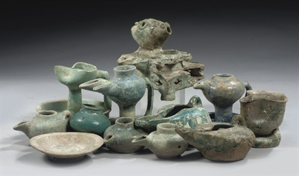 A GROUP OF POTTERY TURQUOISE-G