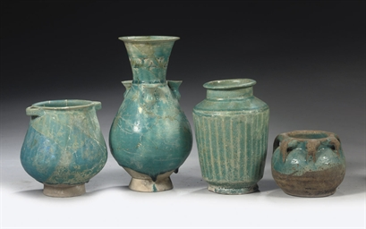 A GROUP OF TURQUOISE GLAZED PO