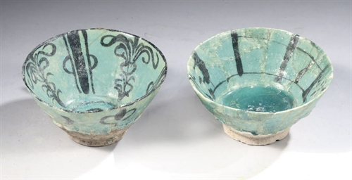 TWO TURQUOISE AND BLACK POTTER