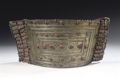 A TEKKE SILVER AND GILT WAISTB