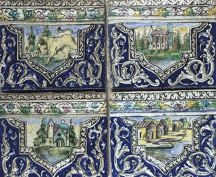 FOUR QAJAR MOULDED POTTERY BOR