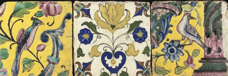 TWO FLORAL TILES, IRAN