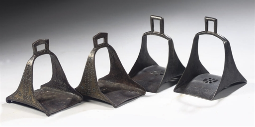 TWO PAIRS OF BRONZE STIRRUPS,