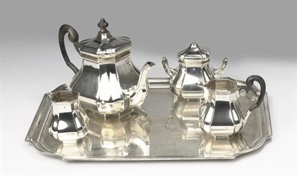 A DUTCH SILVER FIVE-PIECE TEA-