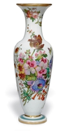 AN OPALINE GLASS VASE