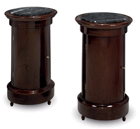 A PAIR OF MAHOGANY AND MARBLE