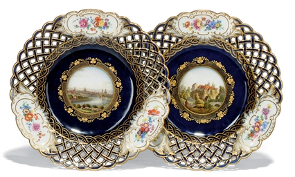 TWO MEISSEN RETICULATED BLUE-G