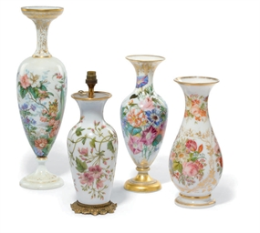 FOUR OPALINE GLASS VASES