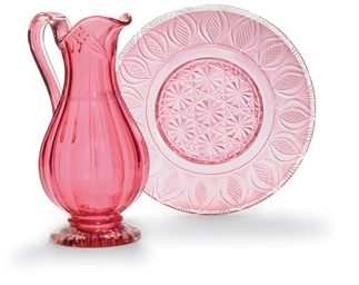 A CRANBERRY GLASS EWER AND A D