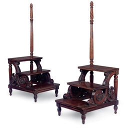 A PAIR OF MAHOGANY LIBRARY STE