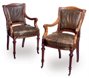 A PAIR OF VICTORIAN OAK AND LE