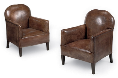 A PAIR OF STAINED BEECH ARMCHA