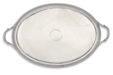 A GEORGE III OVAL SILVER TWO-H