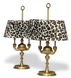 A PAIR OF ITALIAN BRASS LAMPS