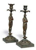A PAIR OF GEORGE IV BRONZE CANDLESTICKS IN THE FORM OF EGYPTIAN FIGURES