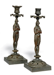 A PAIR OF GEORGE IV BRONZE CAN