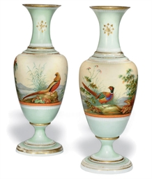 A PAIR OF OPALINE GLASS VASES