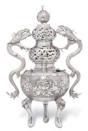 A CHINESE SILVER INCENSE BURNE