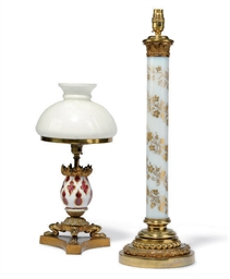 A VICTORIAN GILT-OPALINE GLASS