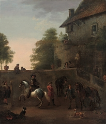 Riders in a courtyard