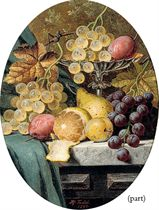 Grapes, plums, a lemon, a pear and a silver tazza, on a stone ledge; and Grapes, gooseberries, plums, an apple and a glass jug, on a stone ledge