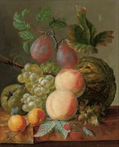 Peaches, grapes, plums, raspberries and a gourd on a marble ledge