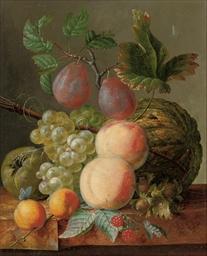 Peaches, grapes, plums, raspbe
