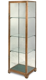 AN OAK SHOP DISPLAY CABINET