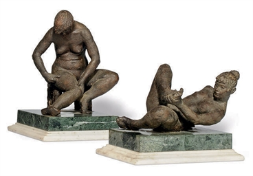 TWO BRONZE FIGURES OF NUDE WOM