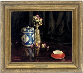 The red cup and saucer