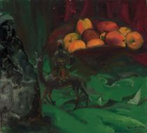 Still life with apples and Chinese figures