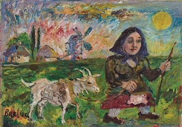 Girl with a goat