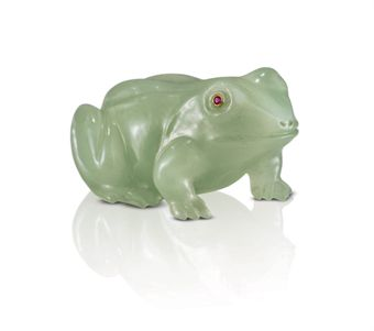 A Carved Bowenite Model of a Frog