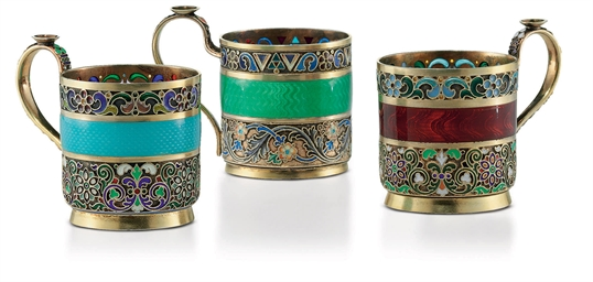 Three Silver-Gilt, Cloisonné,