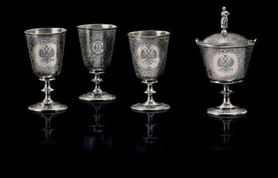Three Silver and Niello Goblet