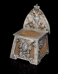 A Silver-Mounted Wood Salt Thr