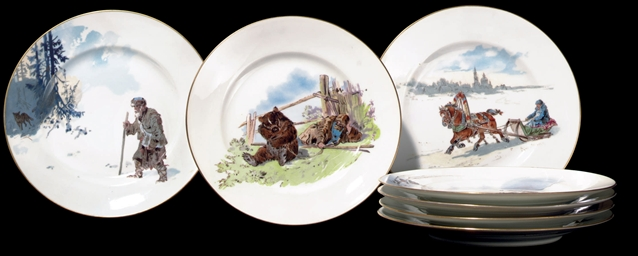 A Set of Seven Porcelain Plate