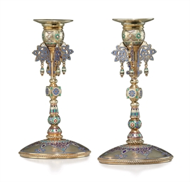 A Pair of Silver-Gilt and Cham
