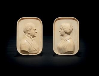 A Pair of Ivory Portrait Minia