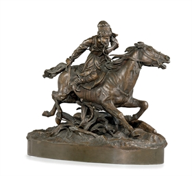 A Bronze Group of a Cossack Wa