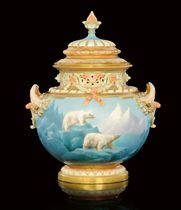 A TWO-HANDLED POT-POURRI VASE AND COVER BY HARRY DAVIS