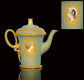 A TURQUOISE-JEWELLED TEAPOT AN