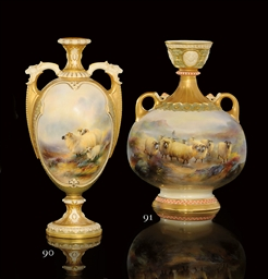 A TWO-HANDLED VASE BY HARRY DA